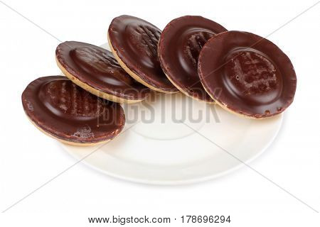 Sweet cookie and plate on white background
