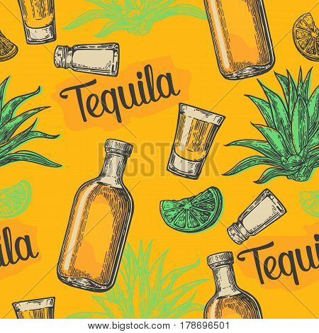 Seamless pattern of glass and botlle tequila, glass, salt, cactus and lime on yellow background. Vintage vector engraving illustration for label, poster, web, invitation to party