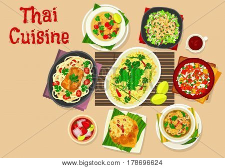 Thai cuisine dinner dishes icon of rice with egg, fried shrimp rice, squid vegetable salad, chicken coconut soup, pork with peanut sauce and noodle, chicken mushroom soup, fish baked in coconut sauce