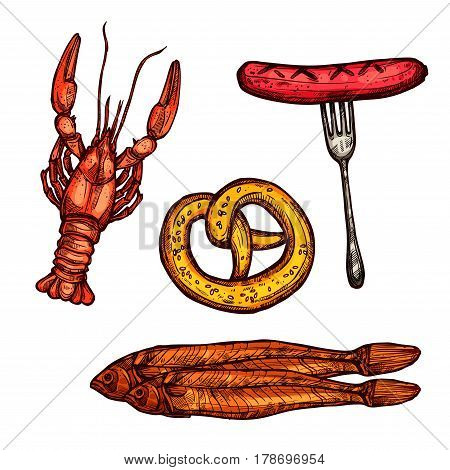 Grilled sausage, pretzel, crayfish or lobster, dried and salted fish sketch set. Beer snack food isolated icon for bar and pub menu, Oktoberfest themes design
