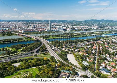 Aerial View Of Vienna City from Donau tower