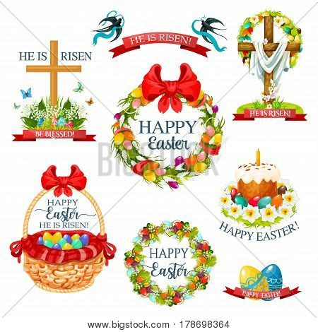 Easter cartoon icon and label set. Easter egg, cake, egg hunt basket and crucifix cross, decorated by floral wreath and flower bunch with lily, tulip and narcissus, swallow bird and ribbon banner