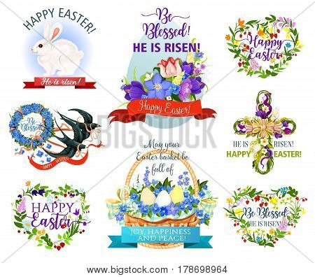 Easter holiday symbol cartoon icon. Easter egg with flowers, rabbit bunny, egg hunt basket and cross, floral heart and wreath with spring flowers, ribbon banner and swallow bird. Easter themes design