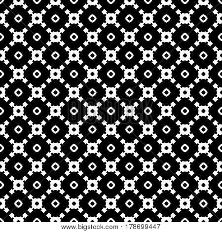 Vector monochrome seamless texture, abstract geometric black & white pattern with simple rounded shapes. Endless background, repeat tiles, diagonal lattice. Design element for tileable print, textile, fabric, wrapping, stationery, cloth