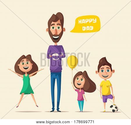 Dad and children character. Cartoon vector illustration. Happy father, friendly kids. Positive emotions. Beautiful family.