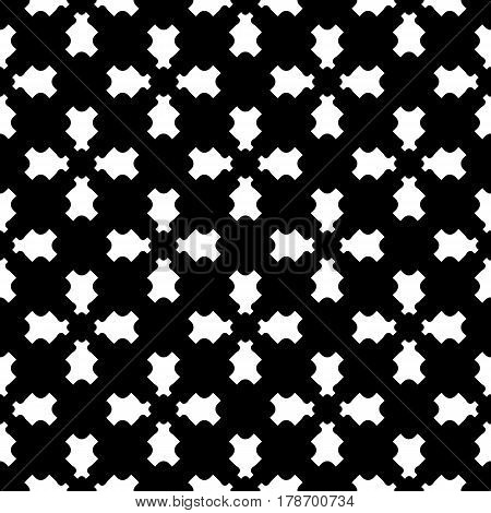 Vector monochrome texture, black & white geometric seamless pattern with traversal carved figures. Illustration of perforated surface. Abstract dark repeat design for prints, decoration, digital, web, textile, furniture