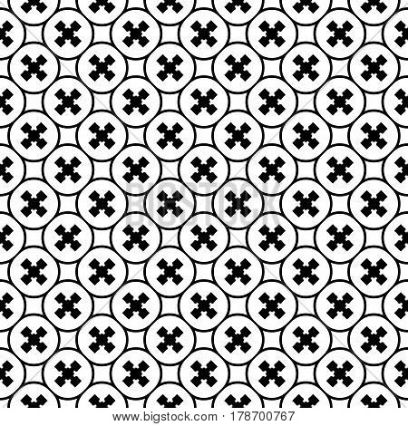 Vector monochrome texture, repeat minimalist seamless pattern. Abstract geometric background with staggered crosses and rounded lattice. Design element for prints, decor, textile, furniture, wrapping