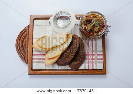 Black Bread And Herring In Glass Gar