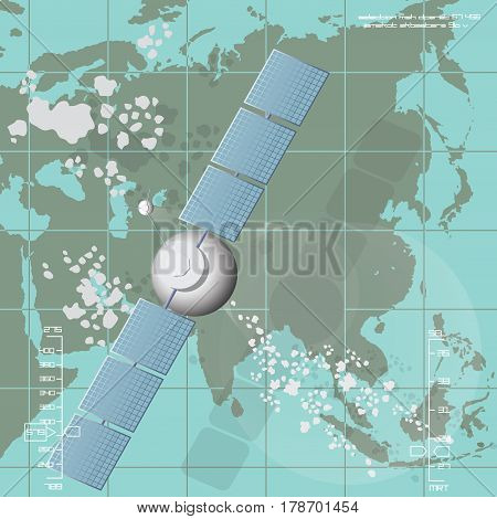 Vector illustration depicting a communications satellite over Eurasia