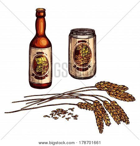 Beer alcohol drink. Glass bottle and can of beer, lager and ale beverage with labels, decorated by hops and barley. Pub, bar or brewery symbol, Oktoberfest festival, food and drink themes design