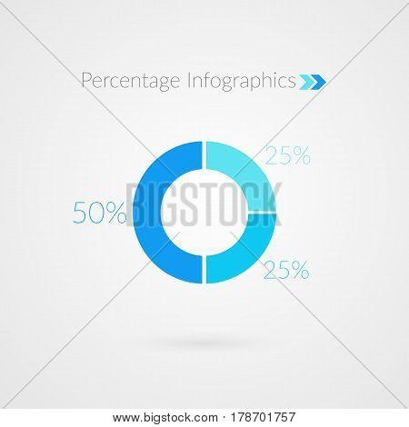 25 50 percent blue pie chart symbol. Percentage vector infographics. Circle diagram business presentation