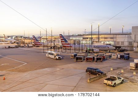 MIAMI USA - MAR 10 2017: American airlines aircrafts at the gate of the Miami International Airport. Florida United States
