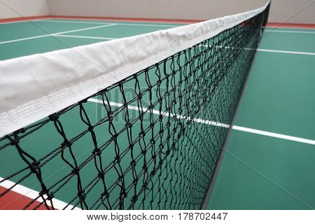 Newlly built tennis court. Taken from angle of net
