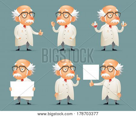 Old Scientist Character Icons Retro Set Cartoon Design Mobile Game Vector Illustration