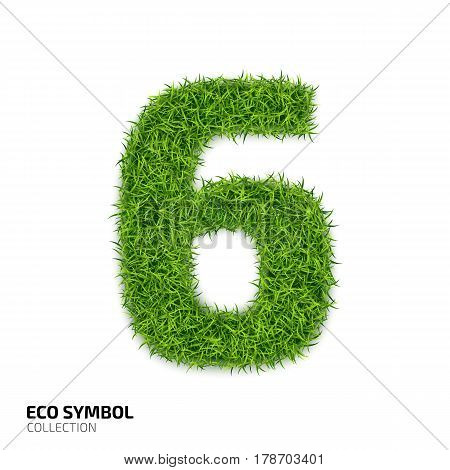 Grass number Six isolated on white background. Symbol 6 with the green lawn texture. Eco symbol collection. Vector illustration