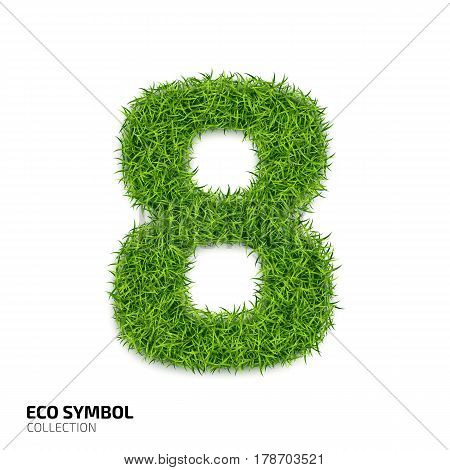 Grass number Eight isolated on white background. Symbol 8 with the green lawn texture. Eco symbol collection. Vector illustration
