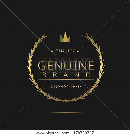 Genuine brand label. Golden laurel wreath, sale promotion icon