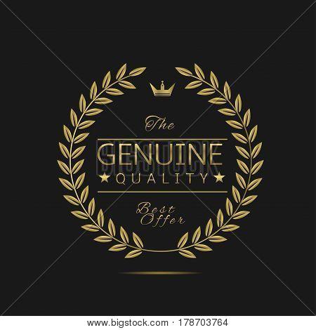 Genuine quality label. Golden laurel wreath, sale promotion icon