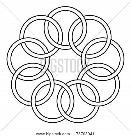 pattern of the binding rings, chain links, round rings, vector