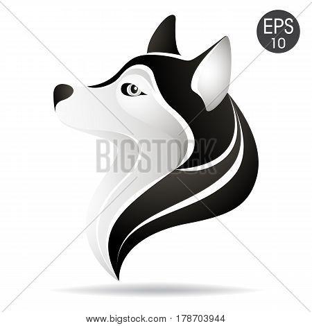 Husky head profile logo. Stock vector illustration of alaskan dog for your design