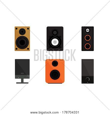 Set of speakers on white background vector concept. Sound speaker illustration in modern flat style. Color picture for design web site, web banner, printed material. Home speaker flat icon set.