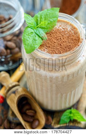 Glass Mug With Tonic Coffee Smoothies And Mint.