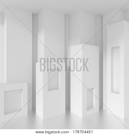 White Building Blocks. Modern Architecture Background. 3d Rendering