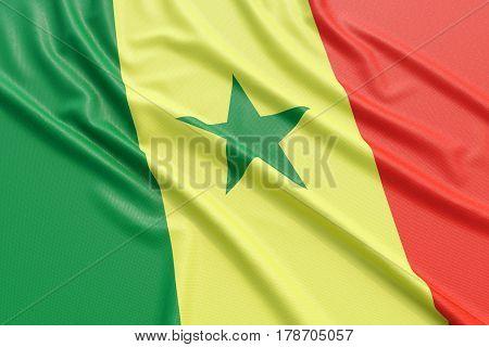 Senegal flag. Wavy fabric high detailed texture. 3d illustration rendering