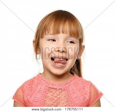 Cute little girl on white background