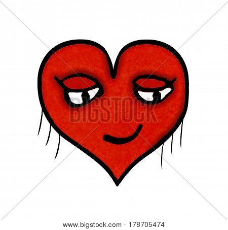 Heart shaped cartoon illustration character with pleased expression isolated against white background