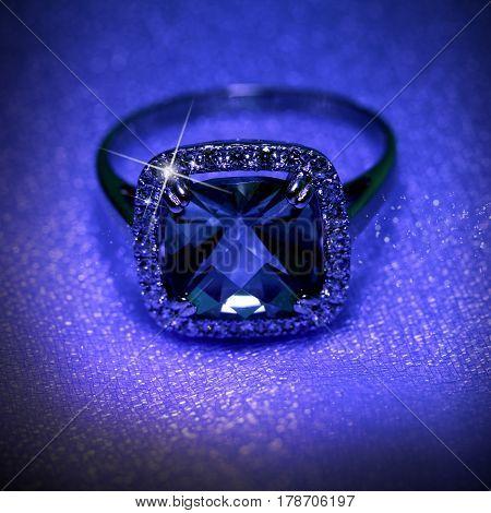 Luxury jewelry ring with jewel diamonds in neon night glow