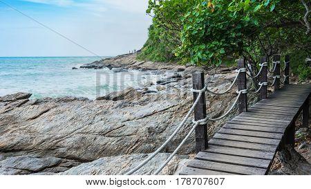Wooden walkway and viewpoint along the coastline to peninsula at Khao Laem Ya National Park , Rayong , Thailand