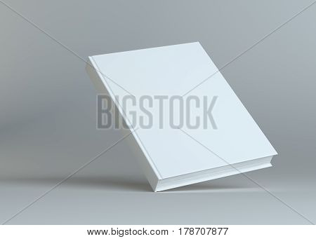 Blank empty book on grey studio background. Empty place for your content. 3D Illustration