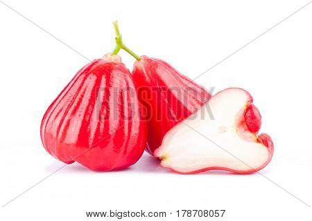 half  rose apple and   red rose apples  ( chomphu )  on white background healthy rose apple fruit food isolated