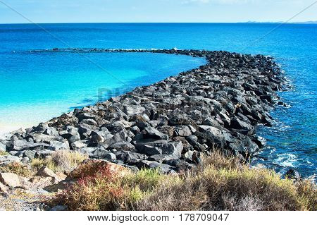 Playa Dorada beach in Playa Blanca southern part of Lanzarote Canary islands Spain