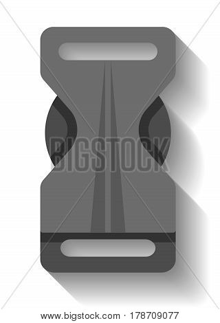 Plastic buckle clasp icon vector illustration isolated on white background. Grey backpack buckle, belt buckle or safety buckle in flat design