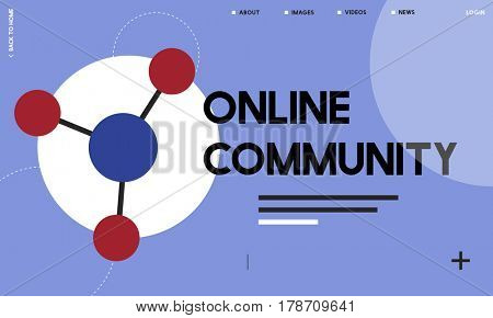 Global network connected with social network online community illustration