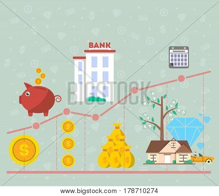 Investment in old age infographics vector illustration. Presentation of retirement money plan, financial growing diagram, finance and banking, strategic management of pension finance, life to retire