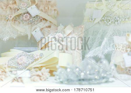 Many beautiful shiny wedding accessories close up