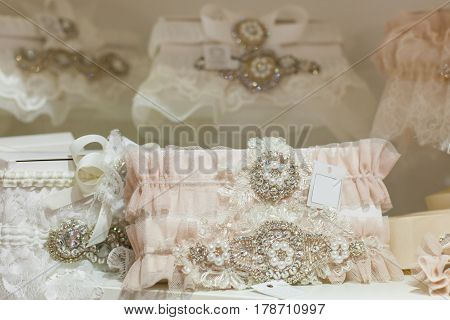 A lot of beautiful shiny wedding accessories close up