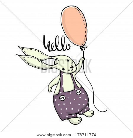 Cute little bunny boy flying with balloon. Hand Sketched cartoon rabbit. Great for baby t-shirt print kids wear baby showerfashion print designpostercards. Vector illustration