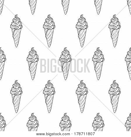 Seamless doodle cone ice cream pattern, hand-drawn monochrome background, ice-cream vector, ice cream black and white wallpaper, for cards, invitations, food design, EPS 8