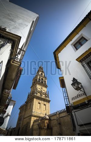 Bell tower from the Jewish quarter in Cordoba