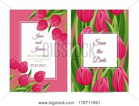 Floral wedding invitation with pink blooming tulip flower vector illustration. Floral decorated design, thank you card, romantic celebration concept with copy space, happy marriage congratulation