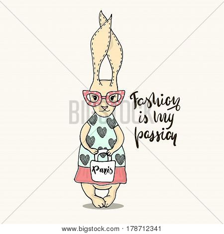 Cute little bunny girl with bag. Hand Sketched cartoon rabbit. Great for baby t-shirt print, kids wear, baby shower, fashion print design, poster, cards. Vector illustration