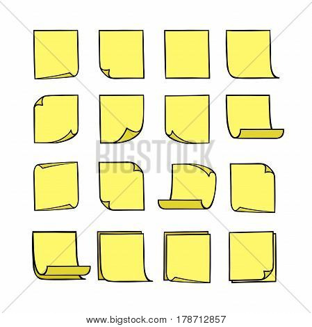 Vector yellow stick notes, collection of hand-drawn sheets of note paper with place for your text and message, sticky note with curled corners, EPS 8