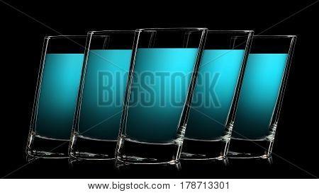 Set of colorful glasses with blue liquor shot on black background