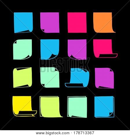 Vector colorful stick note icons, collection of hand-drawn sheets of note paper with place for your text and message, isolated flat sticky note with curled corners, EPS 8