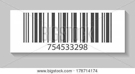 Retail barcode vector illustration isolated on white background. Market mark symbol, product sticker template.