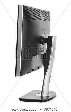 Computer monitor rear view isolated on white background
